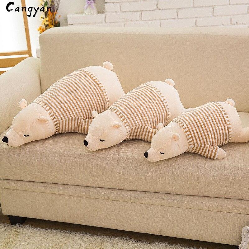 Ropa suave Oso polar muñeca dibujos animados lindo mapache almohada larga felpa almohada vacaciones regalo chico chica como