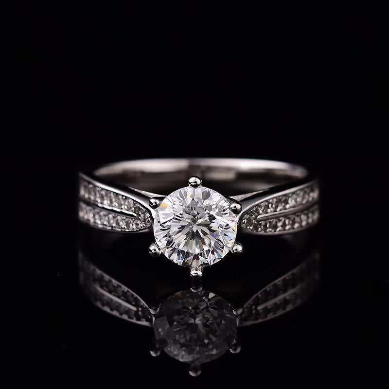 المويسانتي خواتم الزفاف الجانب فضفاض حجر S925 فضة الذهب الأبيض مطلي المرأة الجميلة مجوهرات