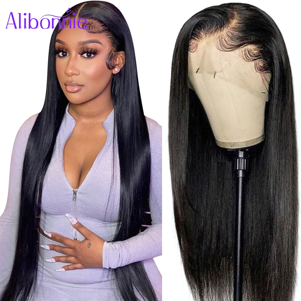 Alibonnie Hair Straight 13x4 Lace Front Human Hair Wigs For Black Women Brazilian Lace Closure Wig P