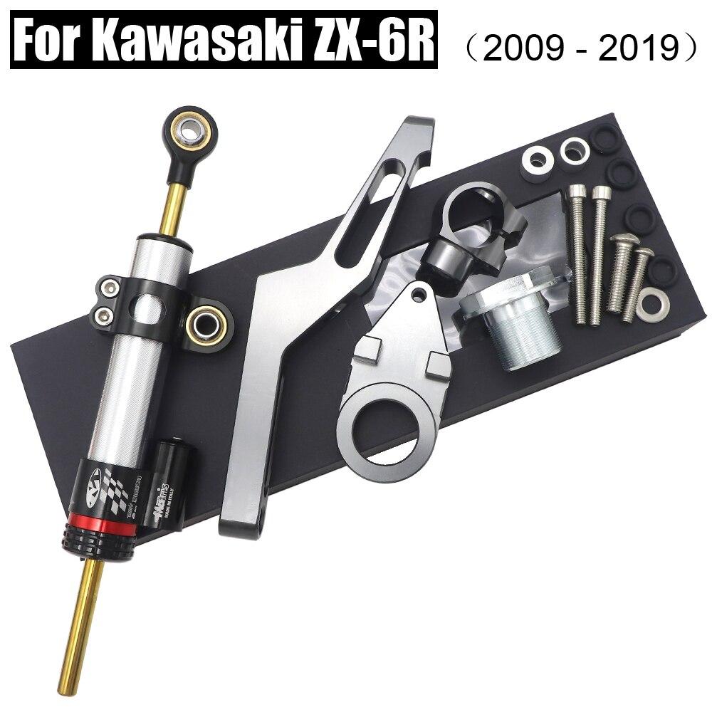 ZX-6R CNC de dirección de la motocicleta estabilizar amortiguador soporte de montaje para Kawasaki ZX6R 2009-2019, 2018, 2017, 2016, 2015, 2014, 2013, 2012