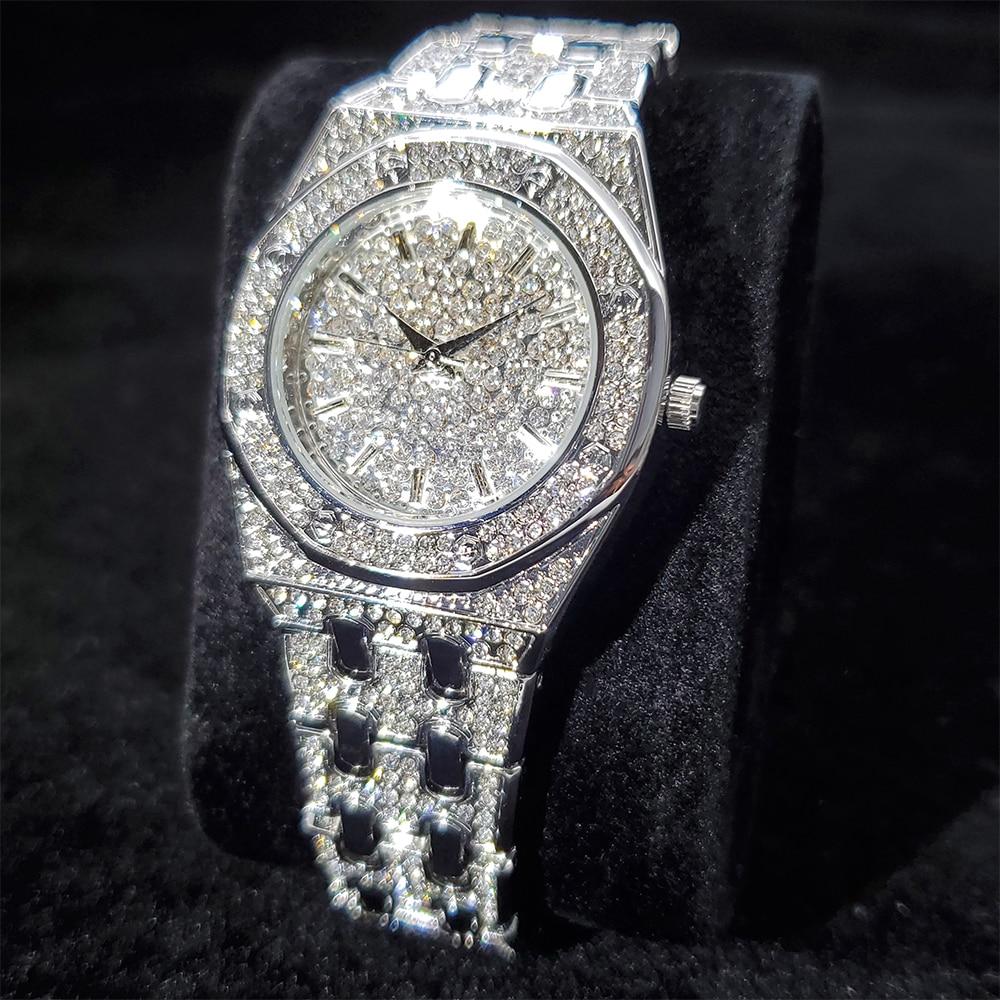 MISSFOX Luxury Women Watch Iced Out Stainless Steel Temperament Woman's Quartz Watches Fashion Elega