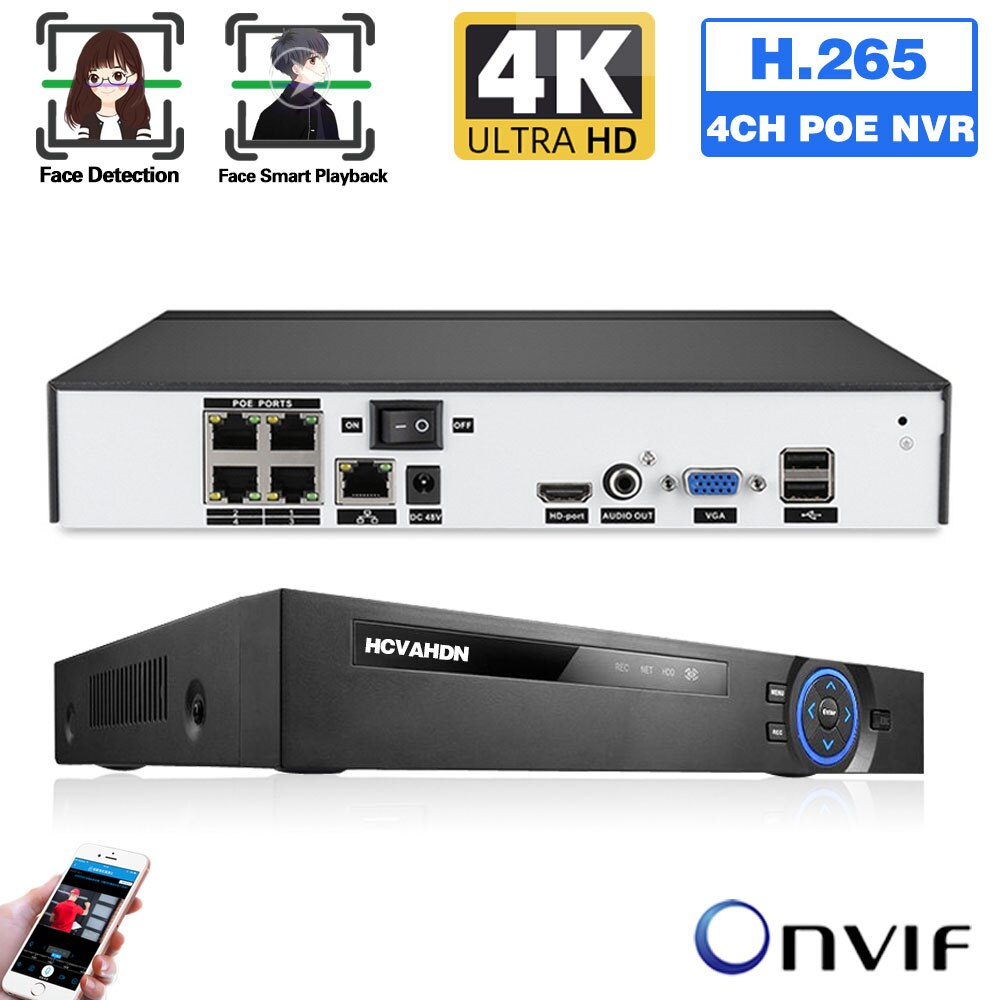 CCTV POE NVR نظام الأمن 5MP 4K 4 قناة IP شبكة مسجل مراقبة فيديو 8MP كشف الحركة XMEYE NVR 4CH ONVIF HD