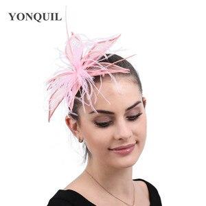 Elegant Bride Wedding Sinamay Headwear Ladies Chic Fascinator Hat Hair Pin With Fancy Feather Hair Accessories Ladies Headdress
