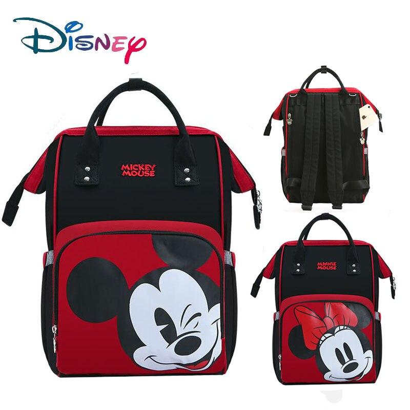 Bolsas de pañales para mamá de Disney, bolsa de pañales multifunción para mujer, bolsa de maternidad con aislamiento de botella USB para bebé, mochila de gran capacidad, color rojo nuevo