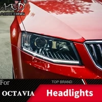 head lamp for car skoda octavia 2015 2017 headlights fog lights daytime running lights drl h7 led bi xenon bulb car accessories