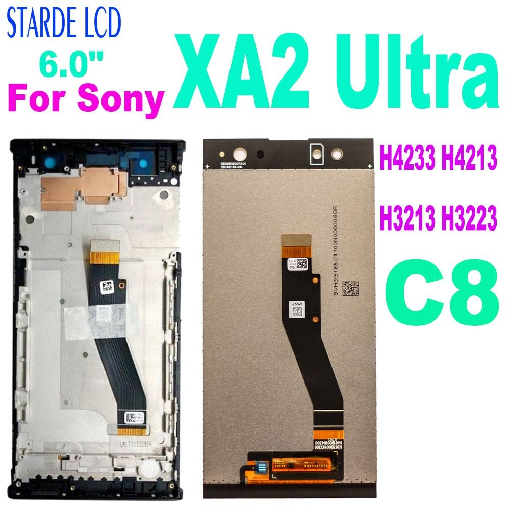 شاشة LCD للهاتف الذكي, شاشة 6.0 بوصة لسوني XA2 ألترا شاشة LCD تعمل باللمس محول الأرقام H4233 H4213 H3213 H3223 لسوني Xperia XA2 Ultra LCD C8 استبدال