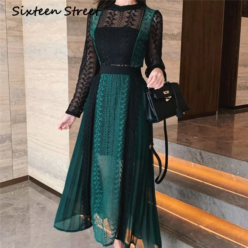 Renda verde oco-para fora maxi vestido mulher manga longa retalhos cintura alta elegante retrato vestidos de outono feminino