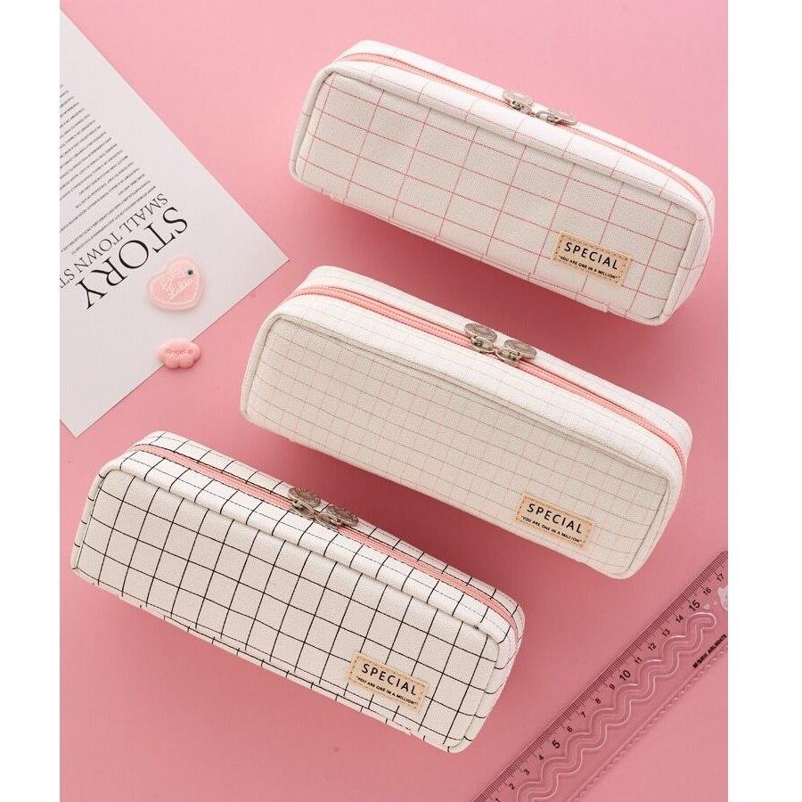 Angoo-pochette de rangement de papeterie à 3 couches, pochette à stylo, pochette à grille de couleur rose [Plaid], grand organisateur de papeterie cadeau pour étudiant F461