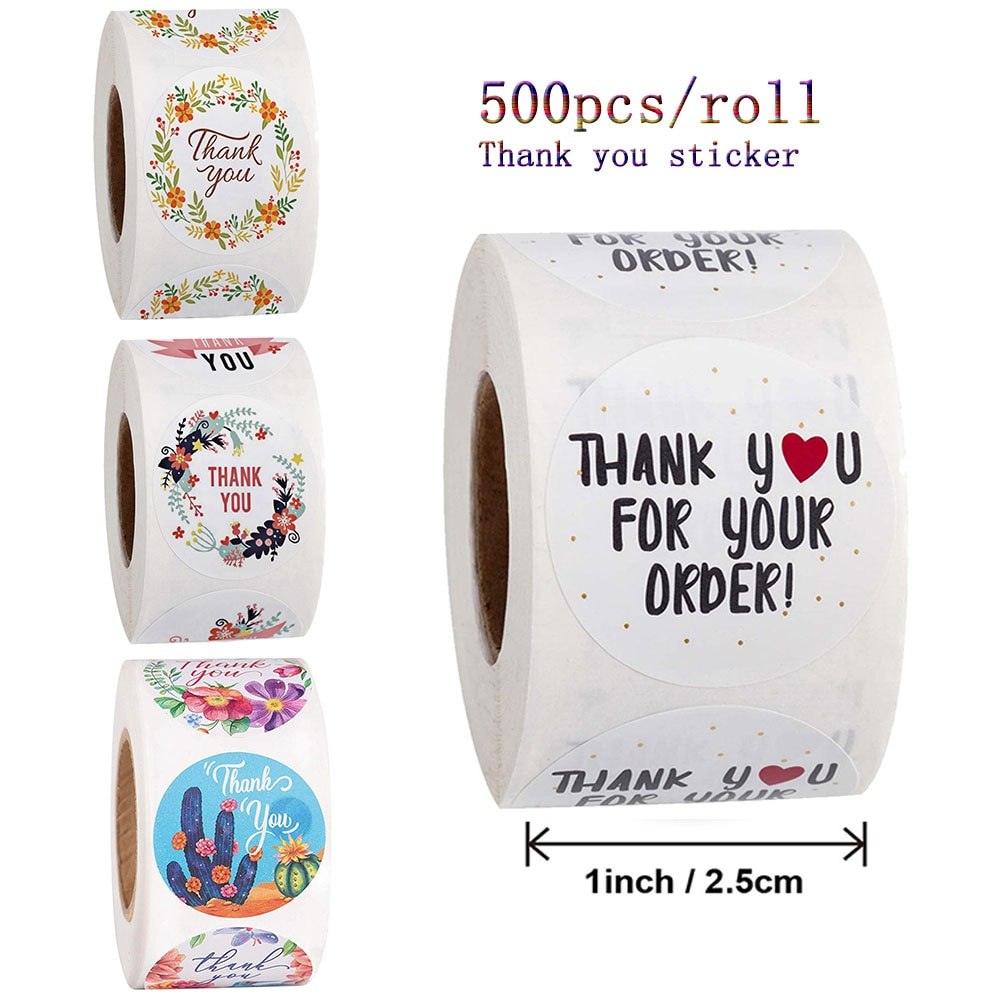 Qiduo 500pcs/roll Thank You Stickers Handmade Sticker Circle Stationery thank you order Christmas Gift Seal Labels Stationery 500pcs pack thank you stickers gloss stickers round stationery thank you for your order seal labels thank you sticker