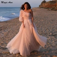 magic awn one shoulder pink beach wedding dresses 2021 with sleeves illusion bohemian princess a line bride dress simple vestido
