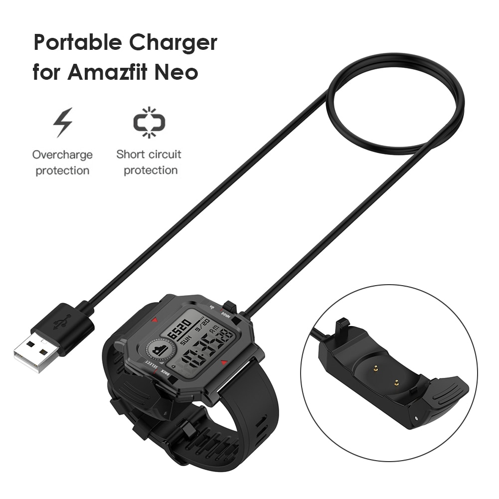 1m Fast USB Charging Cable Portable Smart Watch Charger for Huami Amazfit Neo Smart Watch Wireless C