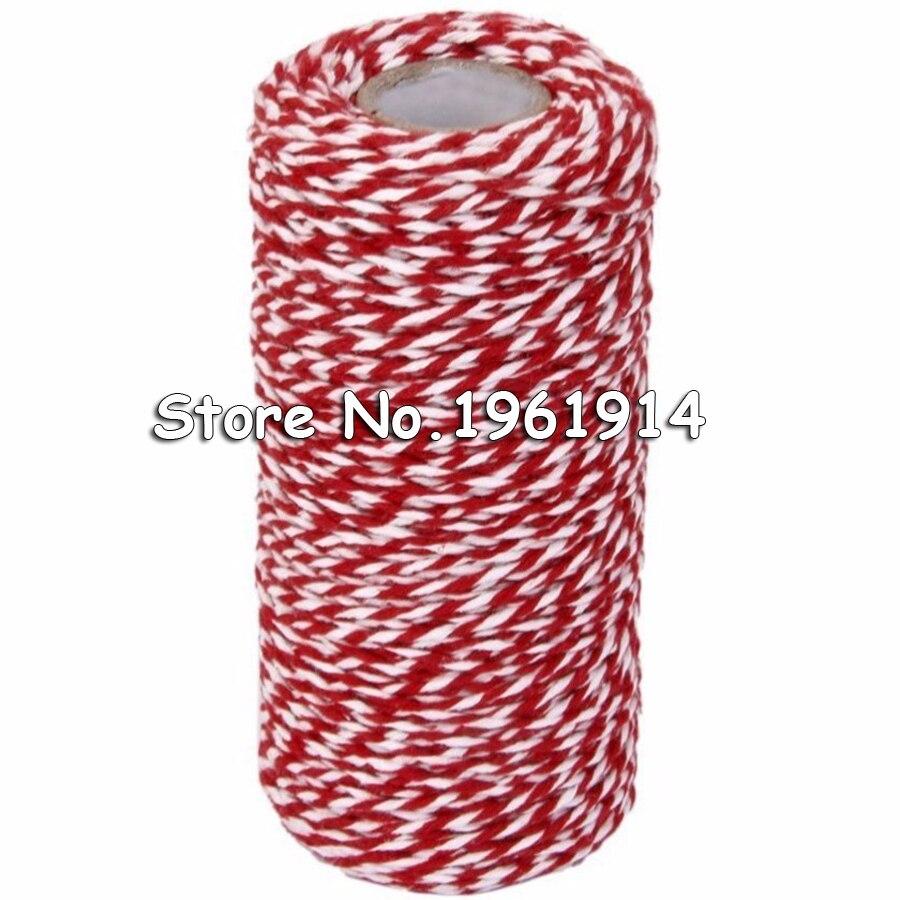 Cuerda de algodón cordón de algodón 100m panaderos de algodón Guita cadena Cable de regalo de botella caja de decoración arte (rojo + blanco)