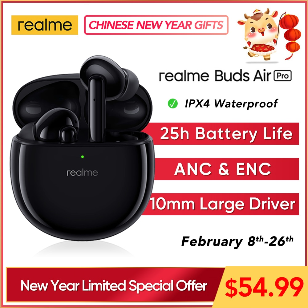 realme Buds Air Pro ANC ENC Active Noise Cancellation Bluetooth 5.0 headset 10mm Bass Boost Driver H