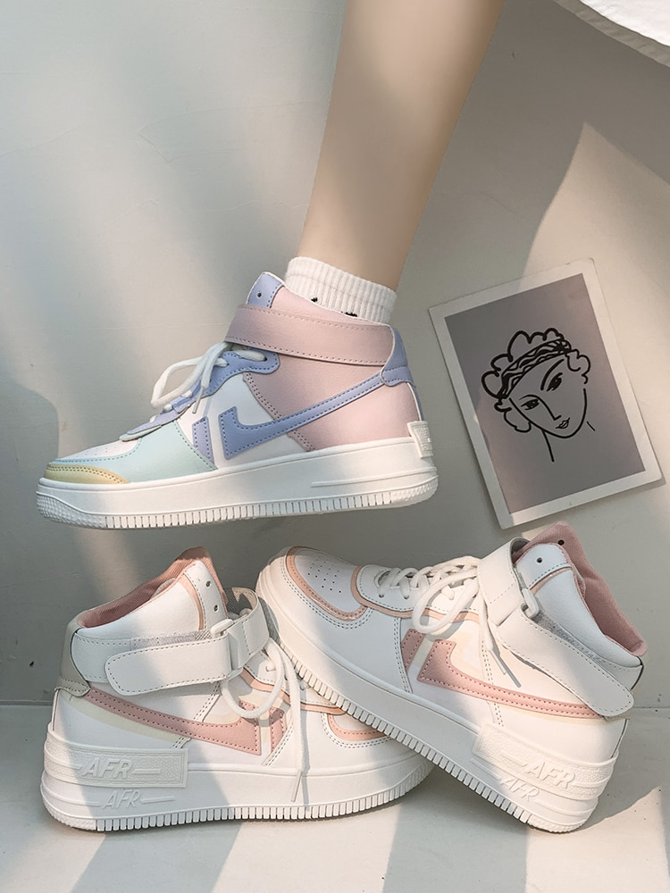 Flat Platform Shoes Plus Size 42 Skate Shoes Macarone Candy Woman Ins leisure New Chic Women Tide Low Top Sneakers Streetwear