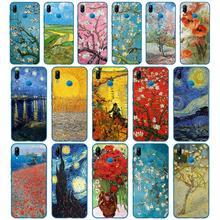 Чехол для Huawei P9 P10 P20 P30 Lite mate 10 20 PRO lite p smart, 255D, Vincent van Gogh, sunflower, cherry blossom, starry sky, 2019