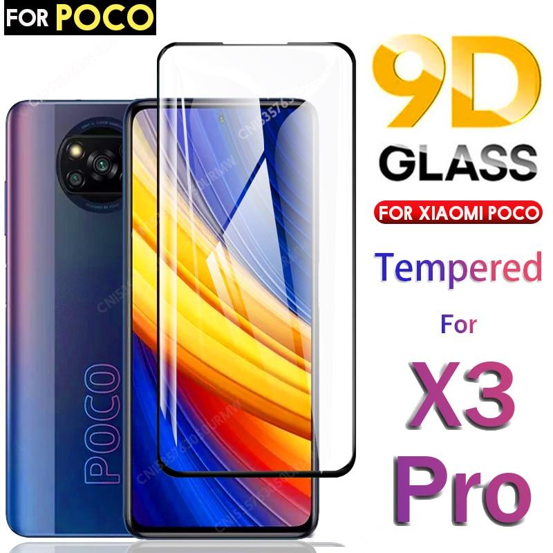 9D Full Coverage Tempered Glass For Xiaomi Poco X3 Pro NFC Screen Protector Poco F3 Pro F2 M3 Poco X3Pro X3NFC Protective Film