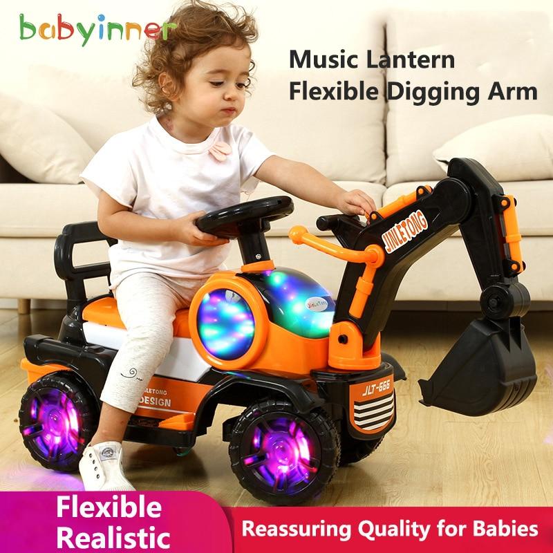 Modelo de excavadora para niños Babyinner, juguete grande para montar, juguetes para niños, camión de ingeniería electrónica para niños, regalo para niños