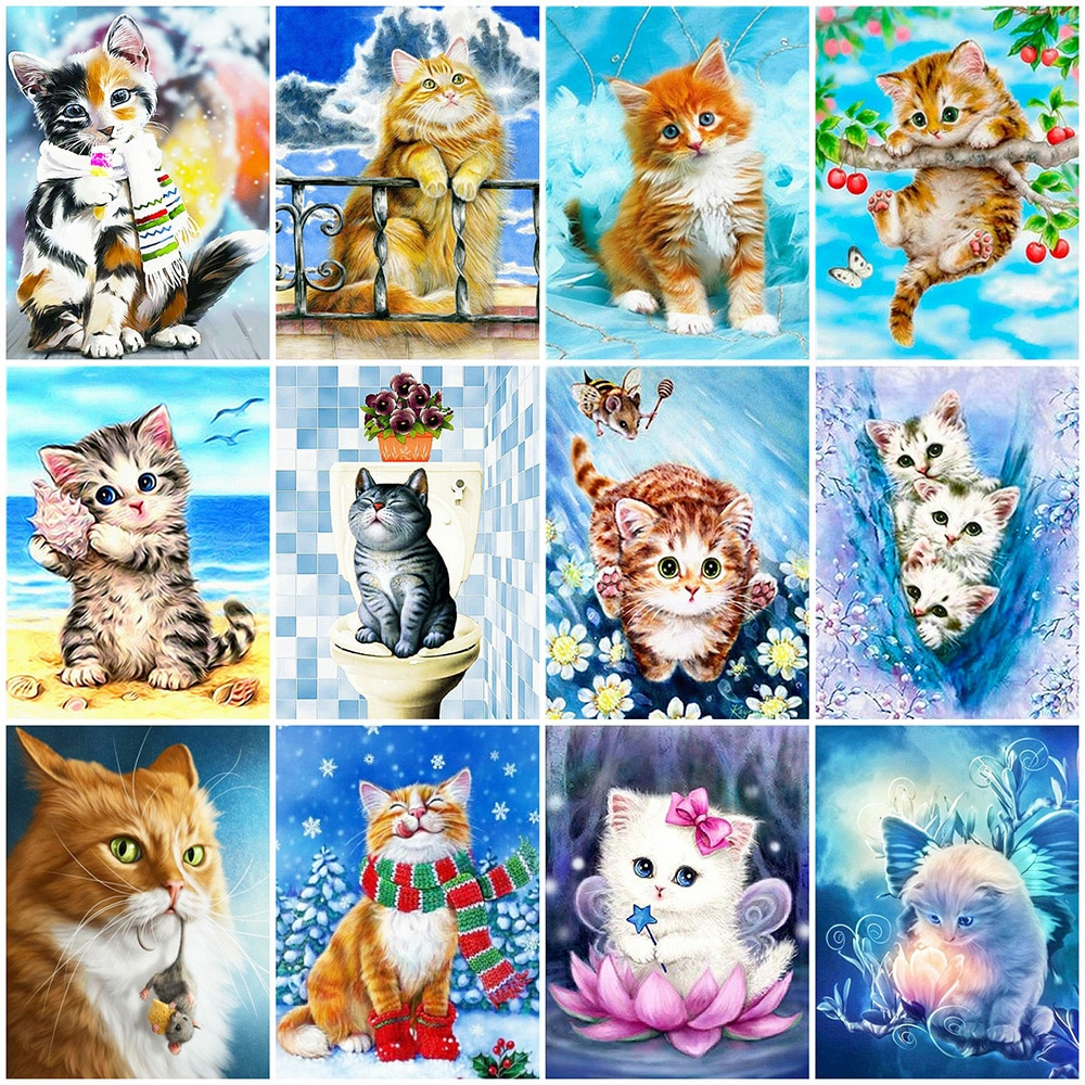 Evershine 5D DIY Diamond Painting Full Square Cat Rhinestones Pictures Diamond Embroidery Animals Mosaic Sale Home Decoration