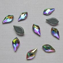 4x7.5mm şeftali yaprağı kristal AB düzeltme Rhinestones/demir düz geri kristaller alev şekli taşlar kumaş konfeksiyon/tırnak sanat