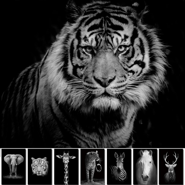 Black And White Animals tiger lion Wall Art Canvas Painting Poster and Prints Wall Picture for Living Room Decoration Home Decor