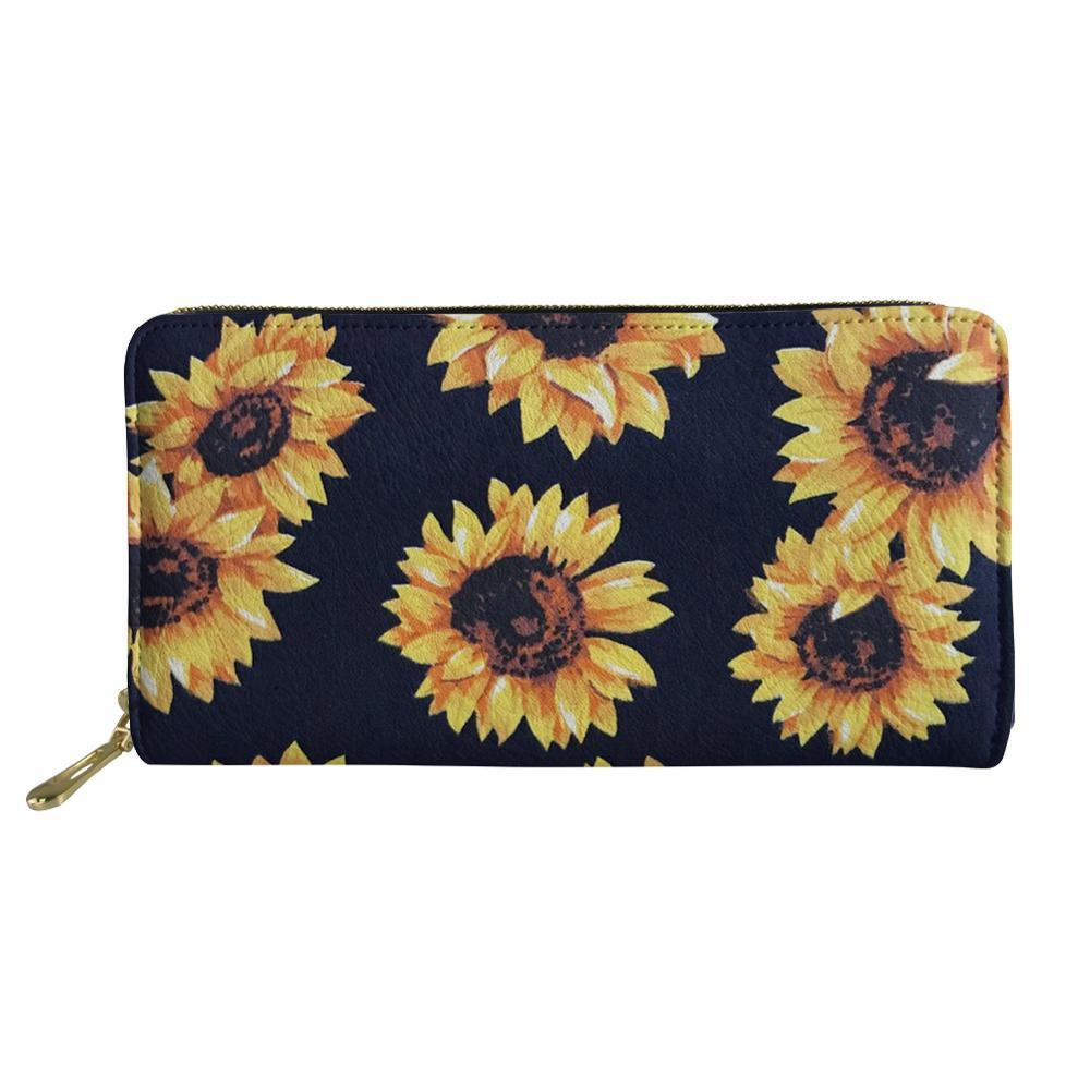 Billetera de Mujer cartera larga para Mujer 2019 girasol 3D crema floral embrague monedero pequeño viaje tarjetas bolsas Mujer