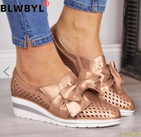 Gran oferta de verano de cuña de las mujeres zapatos planos zapatos de mujer malla hueca transpirable zapatos casuales zapatos para damas pisos mocasines zapatos