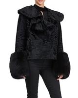 zirunking real fur coat dyed karakul lamb jacket with mink luxury noble skin short classic ruffled collar women outwear zc2020