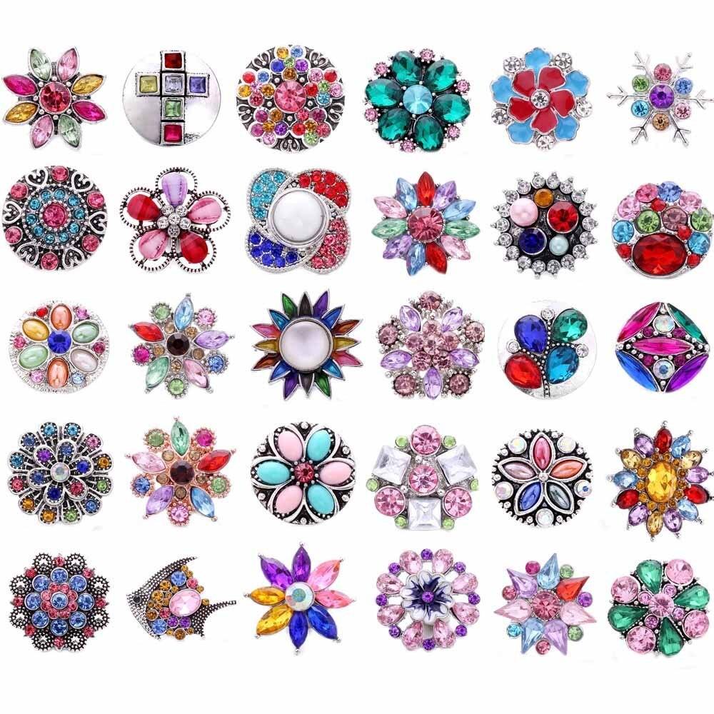 5 unids/lote de coloridos broches de flores de árbol de la vida amor joyería 20mm 18mm botón de Metal ajuste DIY botón de Metal pulsera collar