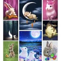 diy 5d cross stitch diamond painting rabbit moon design diamond embroidery carrot animal mosaic photo home decor rhinestone