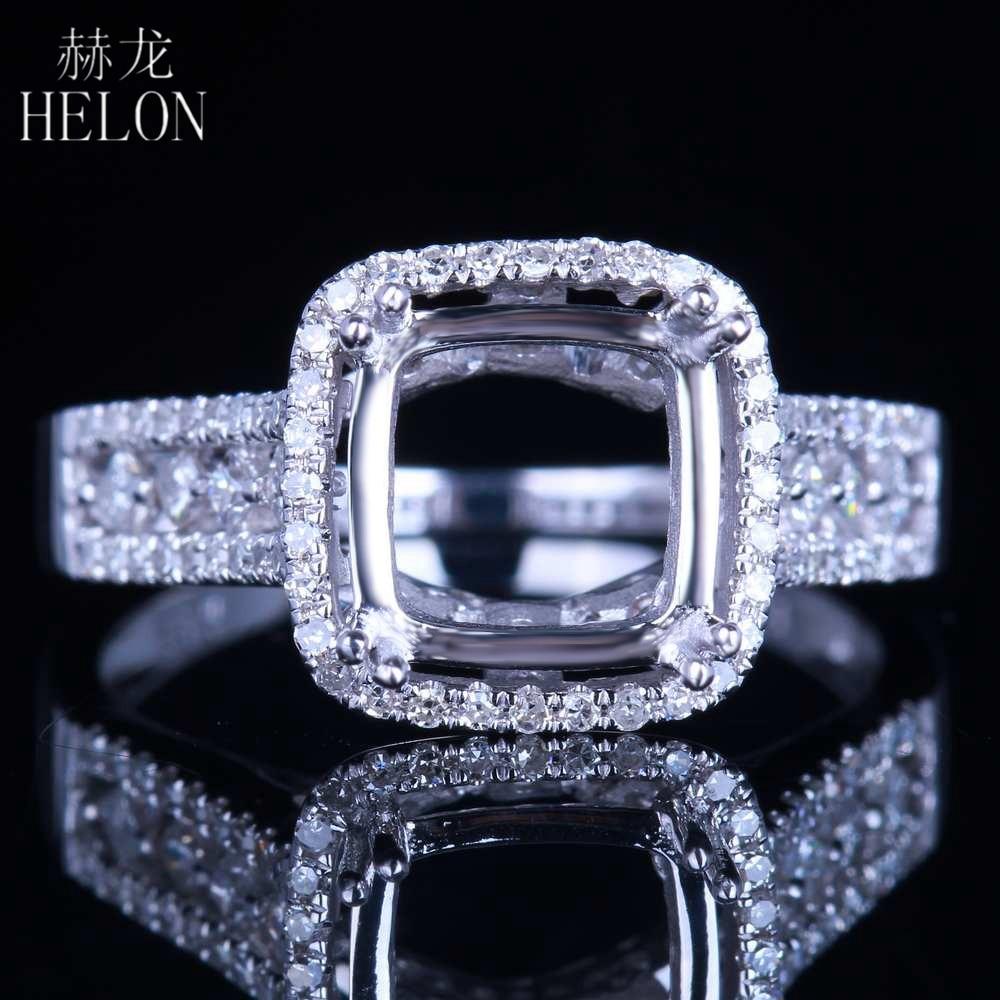 هيلون تألق الصلبة 14K الذهب الأبيض 8x8 مللي متر وسادة شبه جبل 0.5ct الماس الحقيقي المشاركة غرامة مجوهرات الماس حلقة الإعداد