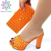 2021 new arrivals african women shoes matching bag in orange color slingbacks sandals with shinning crystal for garden party