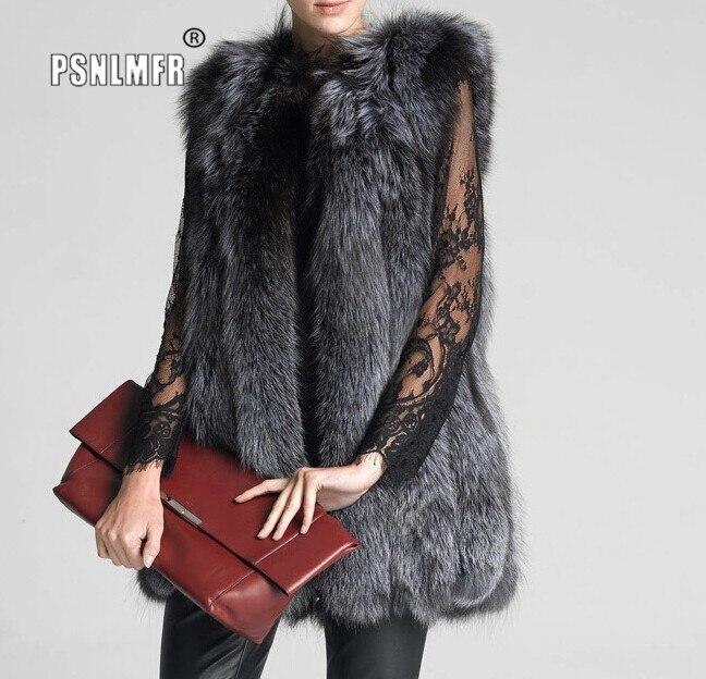 Chaleco de piel de zorro plateada natural para mujer de estilo ruso, nuevo diseño para mujer, Otoño Invierno, chaleco grueso de piel caliente para mujer