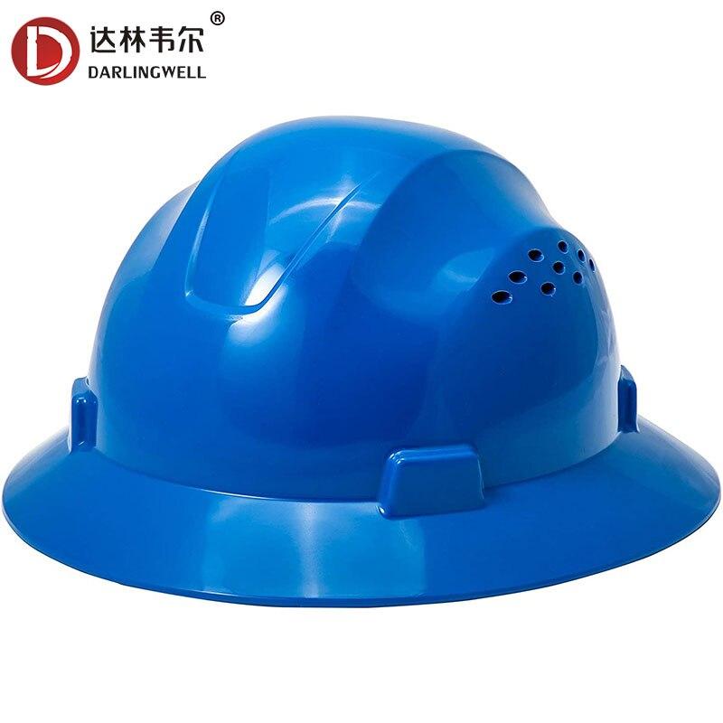 DARLINGWELL سلامة كامل حافة قبعة صلبة مع فتحات البناء خوذة تنفس العمل السكك الحديدية التعدين غطاء الألغام بالجملة
