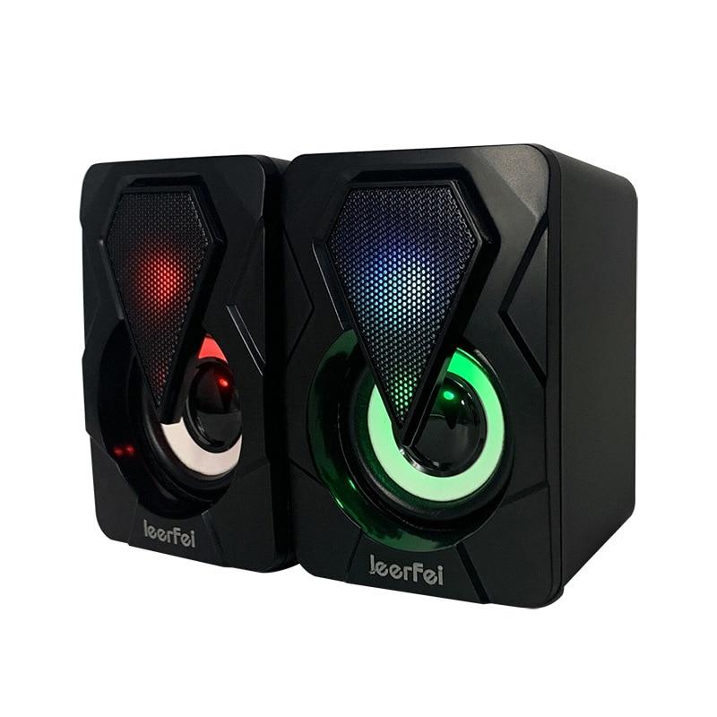 3.5mm Computer Speaker USB Wired Speakers 3D Stereo Sound Surround Loudspeaker For PC Laptop Notebook Subwoofer Colorful LED enlarge