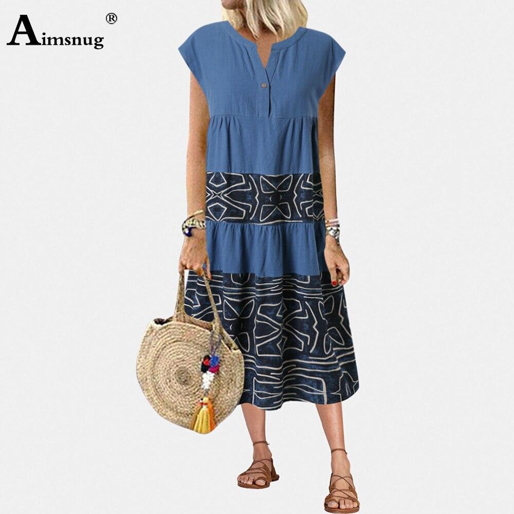 Aimsnug Women Leisure Elegant Dress Single Button V-neck Sleeveless Boho Print Party Dresses 2020 Ladies Vintage Mid-Calf Dress