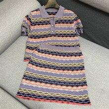 Été Style mode dame belle ondulé rayé brillant Jacquard Polo pull hauts et minceur jupe deux pièces pull costume
