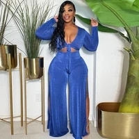 blue pink two piece tracksuit autumn clothes bow tie long sleeve crop tops and side high split wide leg trouser calssy outfits