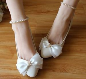 White satin bow butterfly-knot wedding shoes bridal handmade ankle beading elastic straps bride bridesmaid white pumps shoe