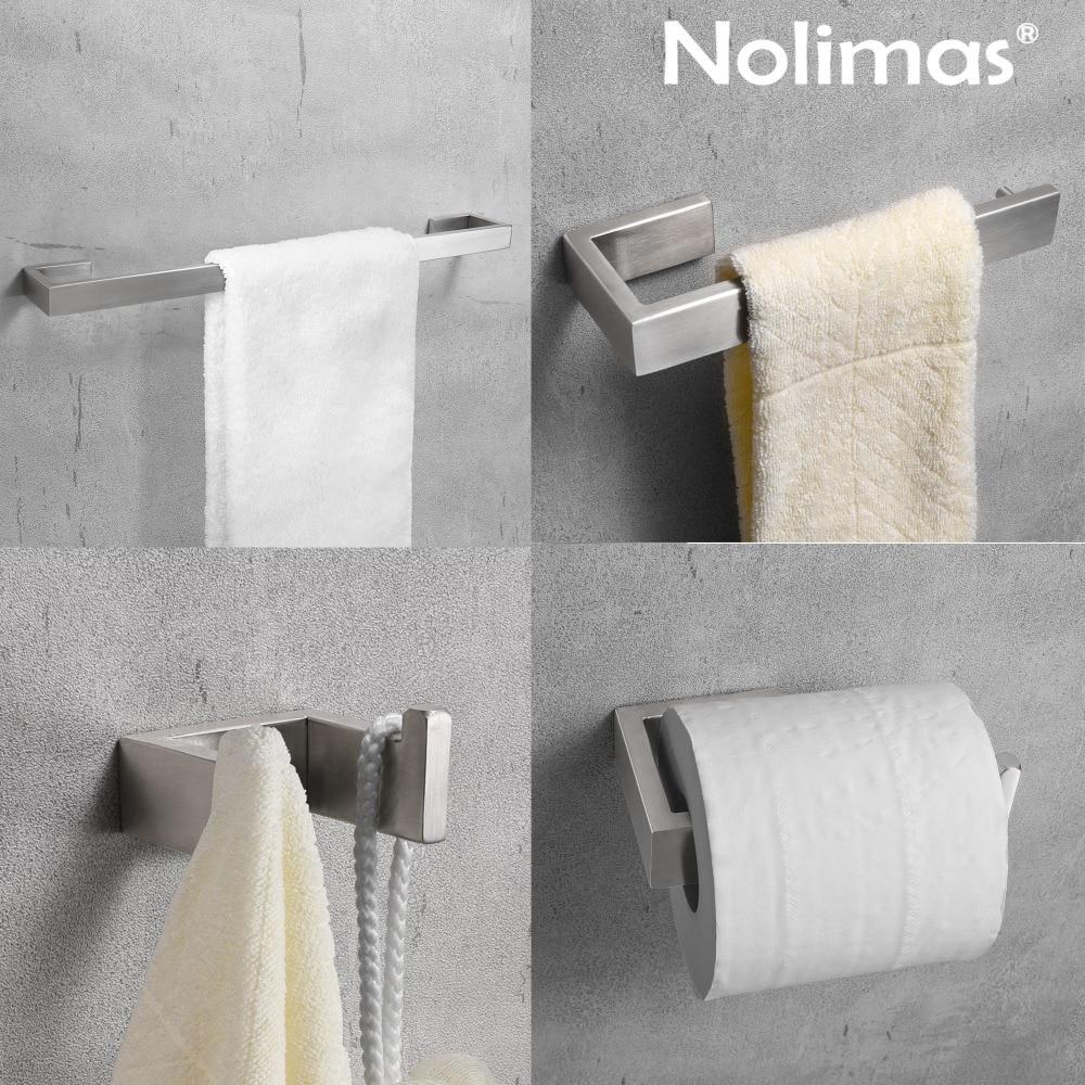 Escovado sus 304 aço inoxidável conjunto de ferragem do banheiro barra toalha anel suporte papel higiênico robe gancho acessórios banheiro