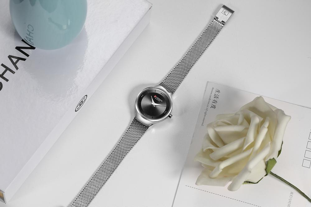 CURREN Fashion Female Watch Simple Elegant Style Wristwatch Women Mesh Quartz Watch Stainless Steel Waterproof Zegarek Damski enlarge