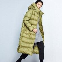 2020 Original diseño AIGYPTOS invierno mujeres breve Casual suelta con capucha Puffer chaqueta Oficina señora elegante Slim abrigo largo de plumas