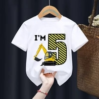 excavator birthday number 1 10 print your name baby kid t shirts children birthday girl gift present clothesdrop ship