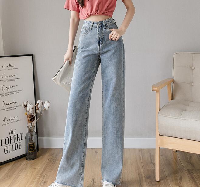 2020 neue frühjahr und sommer seide breite bein jeans frauen gerade beiläufige hosen wischt langen hosen k9431-1-6