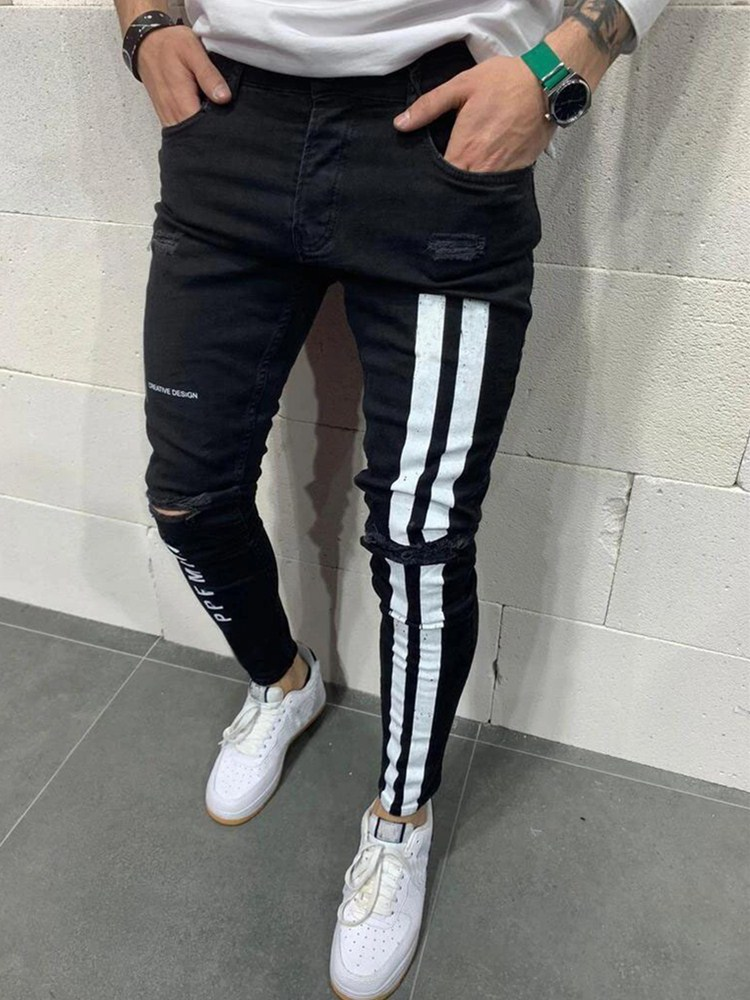 aliexpress.com - 2020 Fashion Streetwear Men Jeans Vintage Blue Color Thin Destroyed Ripped Jeans Broken Punk Pants Homme Hip Hop Jeans Men