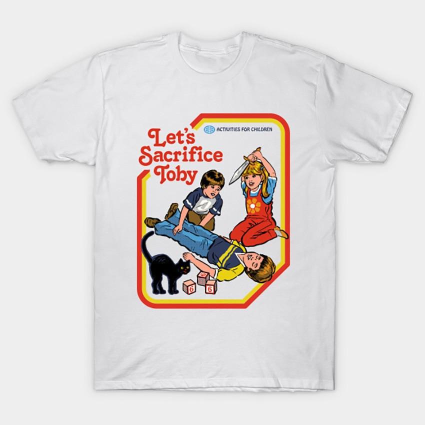 """Camiseta divertida con frase """"Lets Rust"""", camiseta de los años 70 y 80, Ritual ocultismo de gato divertido, libro para niños de 666, libro de sacrificio para niños"""