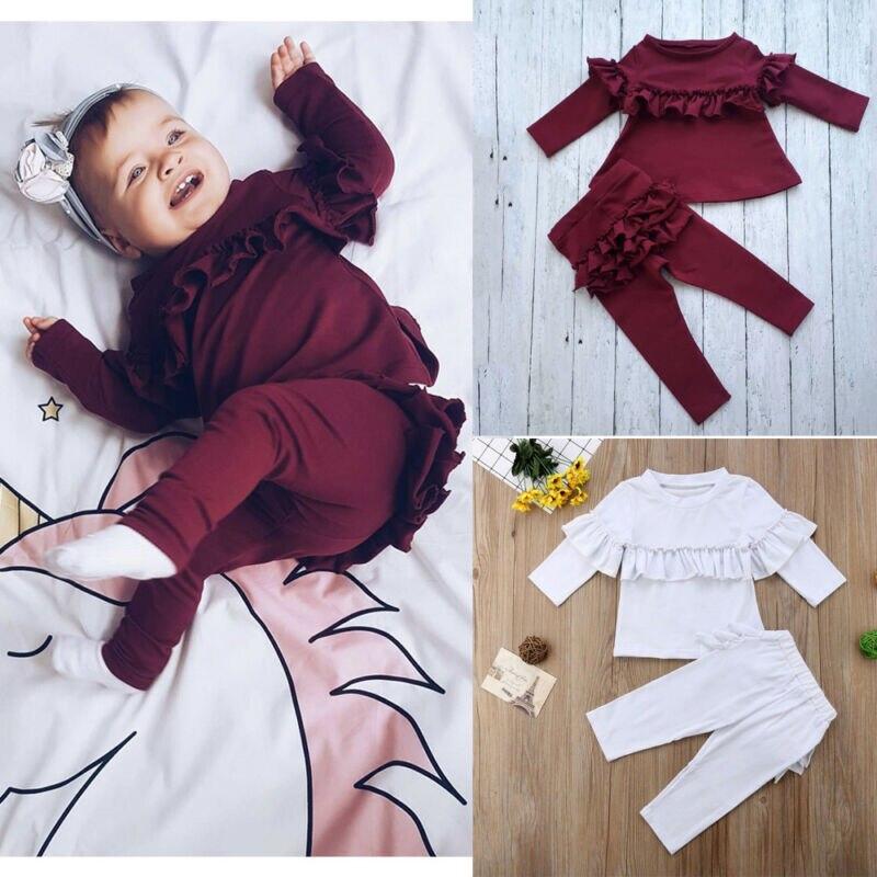 0-24M niño chico niñas Otoño Invierno ropa conjuntos vino rojo manga larga Tops + volantes Decoración pantalones largos traje chándal