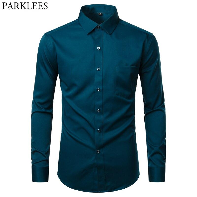 Mens Dress Shirt Button Down Shirts Casual Slim Fit Bamboo Fiber Elastic Office Wedding Work Shirt Wrinkle Free Chemise Green