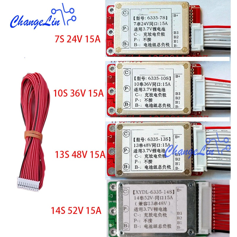 7 s 24 v 10 s 36 v 13 s 48 v 14 s 52 v lítio li-ion lipo íon bateria placa de proteção carga porta comum 15a ebike bms pcm embala o motor
