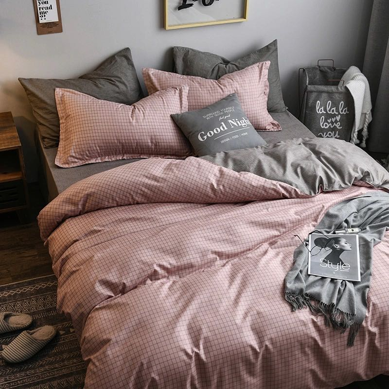 3/4 piece solid color bedding set, bedroom decoration quilt cover for girls AB side quilt cover 2020 queen king size bedding