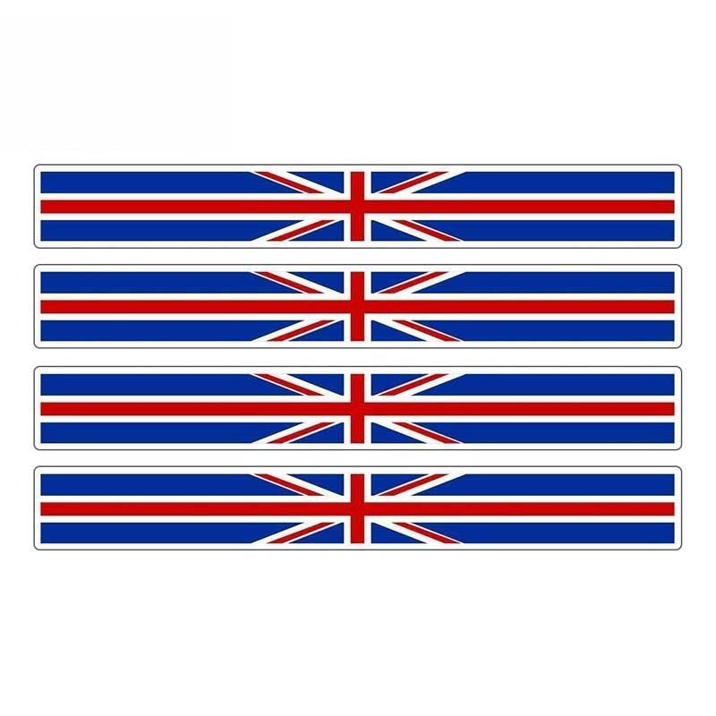 4 X Car Stripe England Flag Sticker British United Kingdom UK Car Stickers Vinyl Decal for Automobile Bike Moto,13cm*1cm